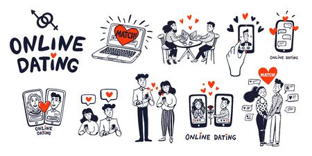Online dating Big set. Dating couples, mobile app, notebook, Young man and woman searching for love with a Mobile phone application. Doodle style vector illustration Stock Illustratie