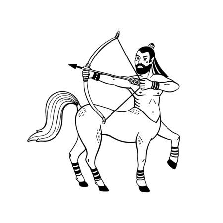 Magical creatures set. Mythological creature - centaur. Doodle style black and white vector illustration isolated on white background. Tattoo design or coloring page, Line Art