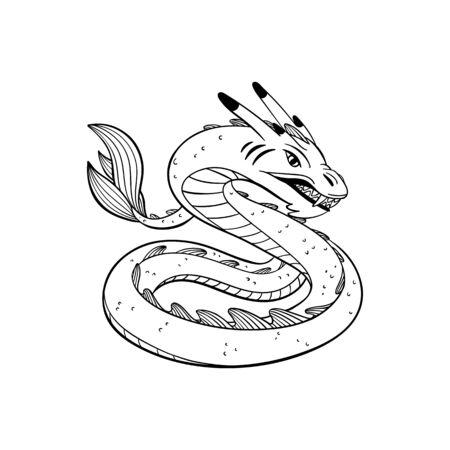 Magical creatures set. Mythological animal - basilisk. Doodle style black and white vector illustration isolated on white background. Tattoo design or coloring page, Line Art
