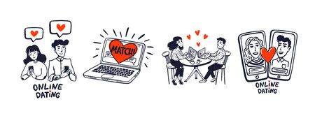 Online dating set. Dating couples, mobile app, notebook, Young man and woman searching for love with a Mobile phone application. doodle style line vector illustration