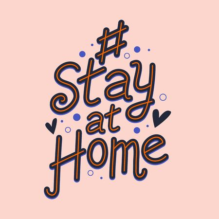 Coronavirus. Hashtag stay at home. Stay Home Sign for social media 向量圖像