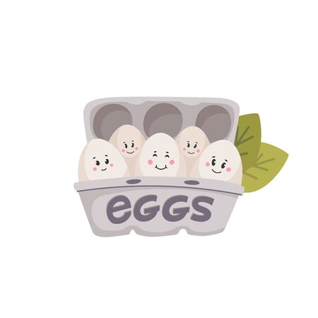 Cute eggs. White eggs with cute faces in carton box. Chicken eggs friends with funny faces. Flat style vector illustration