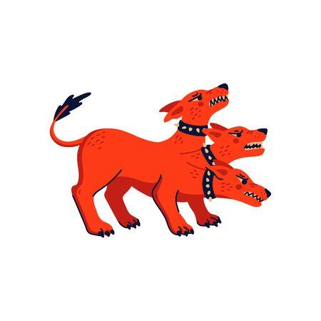 Magical creatures set. Mythological animal - cerberus. Flat style vector illustration isolated on white background. 向量圖像