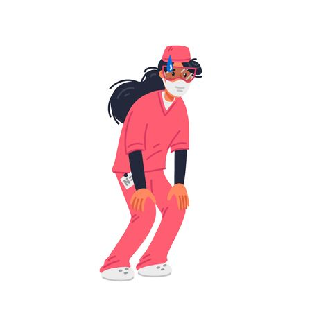 Stay home. Tired Young nurse in pink scrubs and face mask. Medical team in conditions of coronavirus pandemic, covd-19 quarantine. Flat style vector illustration