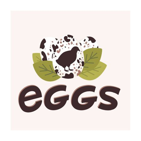 Quail spotted eggs. Fresh farm eggs logo. Silhouette of quail and green leaves on light background. Flat style vector illustration