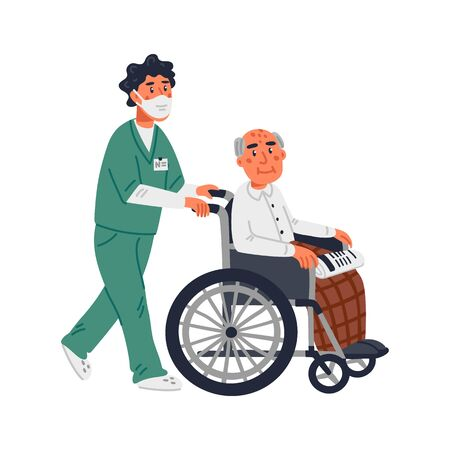 Senior patient. An elderly man in a wheelchair and male nurse in a face mask on a white background. Senior people protection, stay safe concept. Simple flat vector illustration Vettoriali