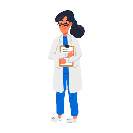 Doctor. Young female MD in blue scrubs and white gown. Medical team concept. A woman physician with medical chart. Simple Flat style vector illustration