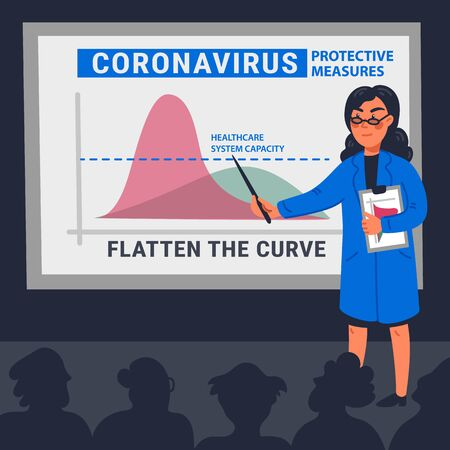 Flatten the curve concept. Female scientist with a pointer in front of a blackboard with a graphic of covid-19 spread. Coronavirus control strategy, quarantine measures. Simple flat style vector illustration