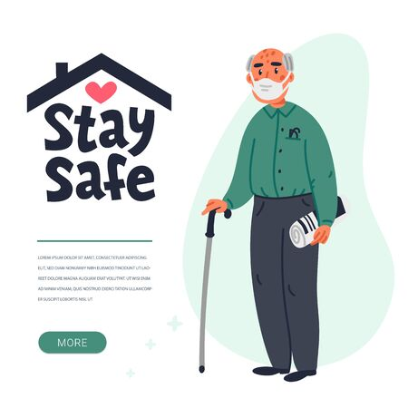 Senior patient protection, stay safe concept. Social poster with An elderly man in a face mask. Simple flat vector vertical illustration Векторная Иллюстрация