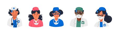 Doctor. Stay home concept. tired faces of medical workers wearing masks and uniforms. Medical team in conditions of coronavirus pandemic, covd-19 quarantine. Flat style vector illustration