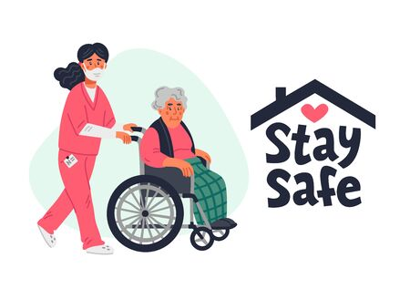 Senior patient protection, stay safe concept. An elderly woman in a wheelchair and nurse in a face mask on a white background. Simple flat vector horizontal illustration
