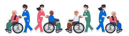 Senior patient. An elderly men women in a wheelchairs and male or female nurses in a face masks on a white background. Senior people protection, stay safe concept. Simple flat vector horizontal illustration