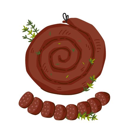 Spiral sausage. Meat delicatessen on white background. Slices of traditional snail sausage. Simple flat style vector illustration