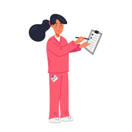 Nurse. Young nurse in pink scrubs holding medical chart. Medical team in conditions of coronavirus pandemic, fight against covid-19. Flat style vector illustration on white background