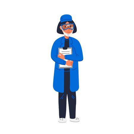 scientist - Woman scientist in lab coat holding madical chart. Vaccine development. Scientific research, fight against covid-19. Flat style vector illustration on white background  イラスト・ベクター素材