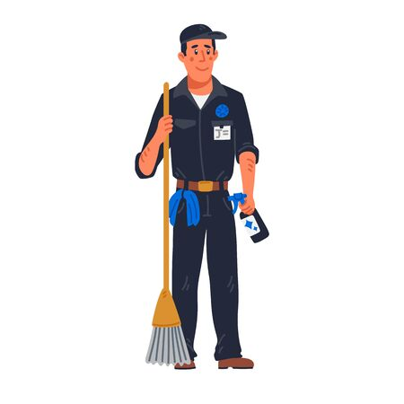 janitor - male janitor in black uniform holding mop. Cleaning service and hospital disinfection. Flat style vector illustration on white background