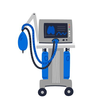 Beatmungsgerät medizinisches Gerät. Beatmungsgerät zur Unterstützung der Atmung. Medizinische Versorgung und Bekämpfung von Covid-19. Flache Artvektorillustration auf weißem Hintergrund