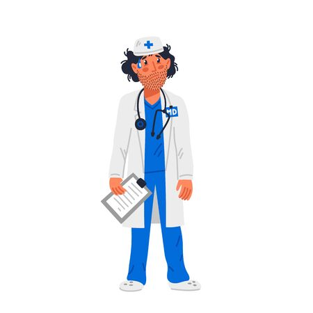 Doctor. Tired doctor in medical gown with Stubble on face. Medical team in conditions of coronavirus pandemic, covd-19 quarantine. Flat style vector illustration