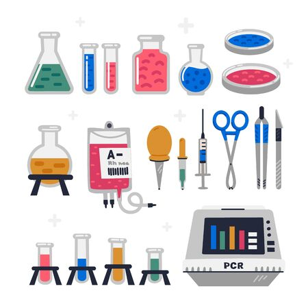 Laboratory equipment, glassware set. Chemical or biological science lab experiment tools for research and testing. Flat style vector illustration on white background