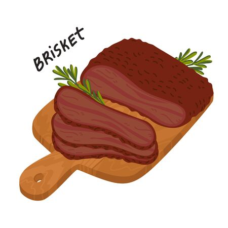Brisket. Meat delicatessen on a wooden cutting board. Slices of barbecue beef brisket. Simple flat style vector illustration