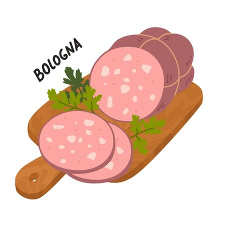 Mortadella Bologna Sausage. Meat delicatessen on a wooden cutting board. Slices of Italian boiled pork sausage bologna. Simple flat style vector illustration