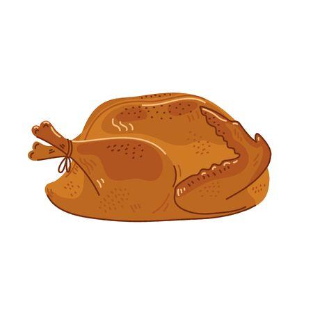 Roasted turkey. Cooked whole festive turkey on white background. Simple flat style  illustration