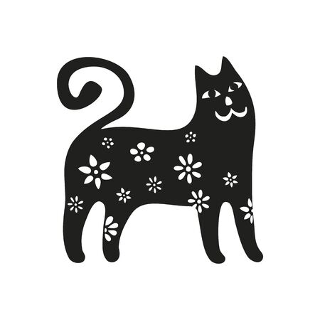 Funny cats set. Black cats silhouette collections. Cartoon style. Vector illustration