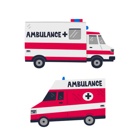 Ambulance car. Emergency Help service. Side view of two Red emergency cars on white background. Simple flat style vector illustration
