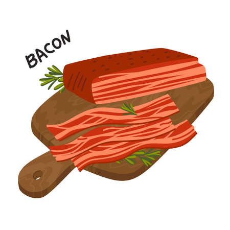 Bacon. Strips of Bacon on a wooden cutting board. Meat delicatessen. Simple flat style vector illustration