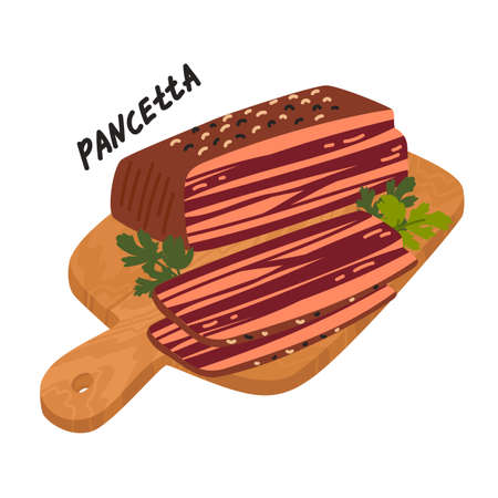 Pancetta. Meat delicatessen on white background. Slices of typical italian bacon on a wooden cutting board. Simple flat style vector illustration