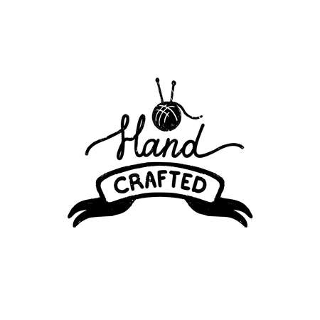 Hand crafted icon or logo. Vintage stamp icon with a handcrafted inscription on ribbon and ball of yarn. Vintage vector illustration for banner and label design Stock Illustratie