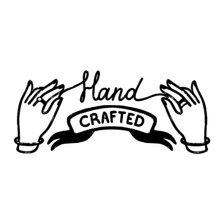 Hand crafted icon or logo. Vintage stamp icon with a handcrafted inscription on ribbon and hands. Vintage vector illustration for banner and label design
