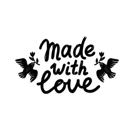 Made with love icon or logo. Vintage stamp icon with made with love lettering and birds. Vintage vector illustration for banner and label design