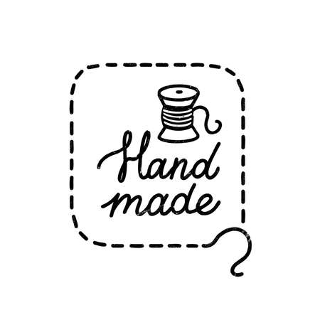 Hand made icon or logo. Vintage stamp icon with handmade lettering and coil. Vintage vector illustration for banner and label design 矢量图像