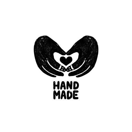 Hand made icon or logo. Vintage stamp icon with hands and heart image and handmade lettering. Vintage vector illustration for banner and label design