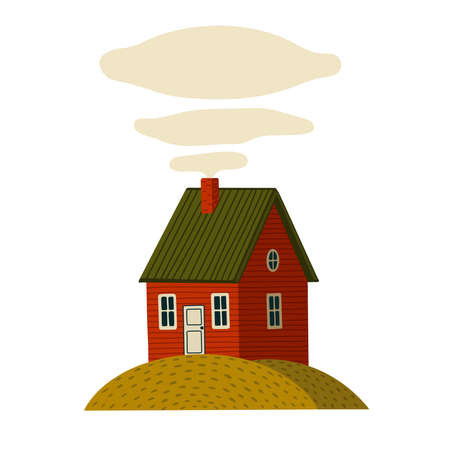 Red house. Wooden Barn house in rustic style on green island. Vector illustration in flat cartoon style on white background