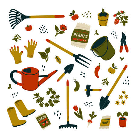 Garden equipment set. Different types of tools for gardening. Vector illustration in flat cartoon style on white background
