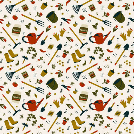 Gardening seamless pattern. Different types of tools for gardening and landscaping. Vector illustration in flat cartoon style on light background 矢量图像