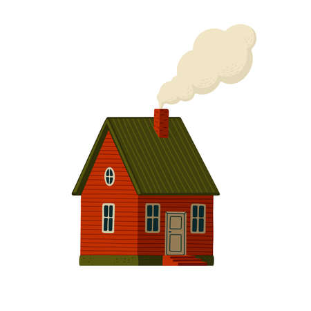 Red house. Wooden Barn house in rustic style with smoke from the chimney. Vector illustration in flat cartoon style on white background 矢量图像