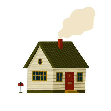 Suburb house. Wooden Barn house in rustic style with smoke from the chimney. Vector illustration in flat cartoon style on white background