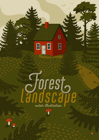 Forest landscape. Woods landscape with Red cabin. Vector illustration in flat cartoon style