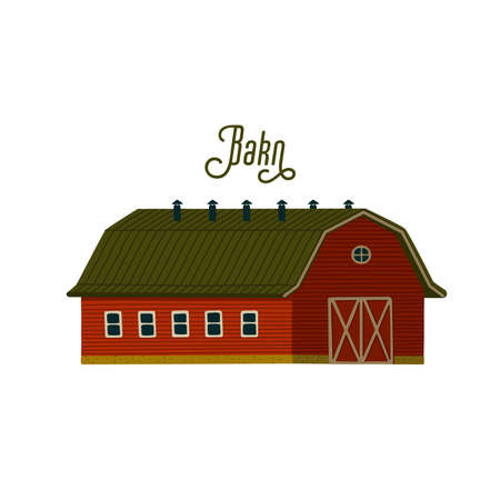 Red barn. Wooden Barn house or stable in rustic retro style. Vector illustration in flat cartoon style on white background