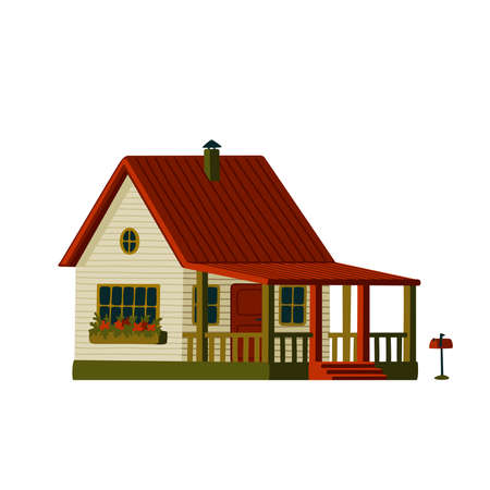Country house with terrace. Wooden white house in rustic style with red roof. Vector illustration in flat cartoon style on white background