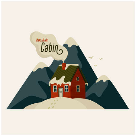 Mountain cabin. Red house in snowy mountains on light background. Vector illustration in flat cartoon style