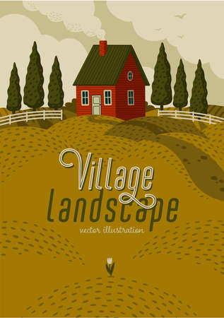 Village landscape. Rural landscape with Red farm house in rustic style on green field with cypresses. Vector illustration in flat cartoon style.