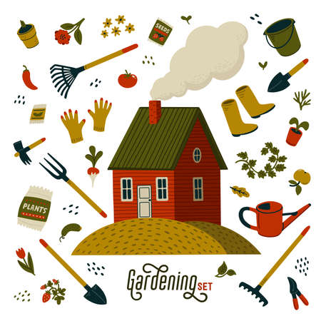 Gardening set. Red farm house and different types of tools for gardening and landscaping. Barn house in rustic style with gardent equipment. Vector illustration in flat cartoon style on white background Stock fotó - 155130017
