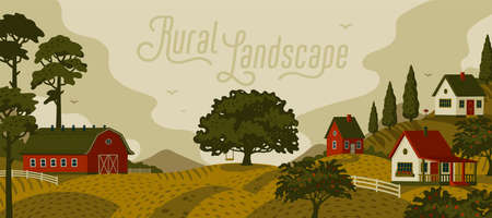 Rural landscape. Panoramic landscape with village and trees. Vector illustration in flat cartoon style