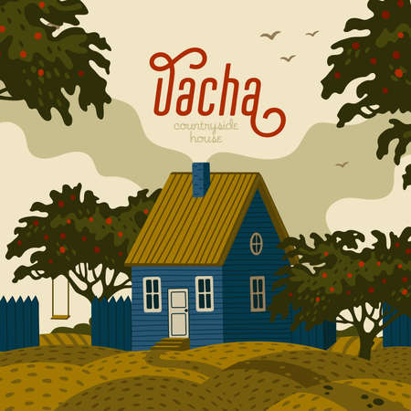 Suburban house - dacha. Rural landscape with blue Barn house in rustic style and green fruit garden. Vector illustration in flat cartoon style