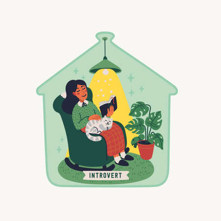 Introvert. Extraversion and introversion concept - young woman sitting in an armchair with a book and cat on her laps, under a glass cap. Vector illustration in flat cartoon style on white background