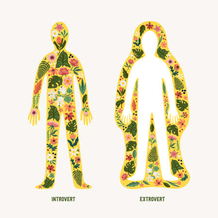 Extrovert and introvert. Extraversion and introversion concept - silhouettes of two human bodies with an abstract image of emotions as flowers inside and outside. Vector illustration in flat cartoon style on white background